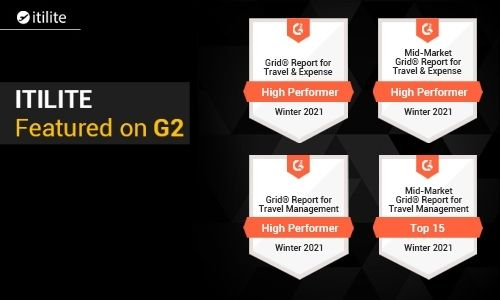 G2 recognizes ITILITE as a High Performa in Travel & Expense management globally